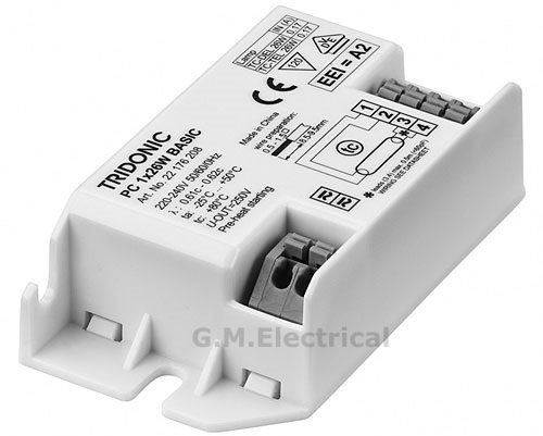 TRIDONIC DIGITAL HIGH FREQUENCY SQUARE FLUORESCENT BALLAST - RUNS 28W 2D OR COMPACT PL 26W - 22176208 PC 1x26W BASIC sl