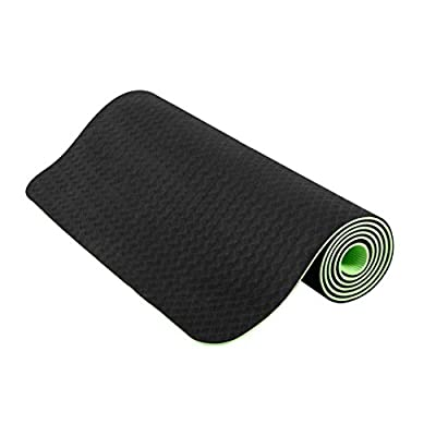 HuaQi Eco-friendly Exercise Yoga Mat- Double Non Slip Surfaces-Ideal for Professional and Primary Use- Optimal Grip and Surprising Cushion- Free yoga mat bag and Carrying Strap