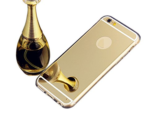 Iphone 6 Plus case,Top Selling (TM) Handmade Beauty Luxury Bling Diamond Mirror Soft TPU Silicone Gel Fitted Skin Case Back Cover for apple iphone 6 Plus (Gold)