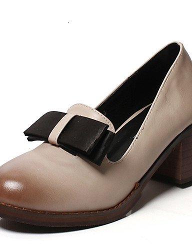 GGX/ Damen-High Heels-Outddor / Kleid-PU-Blockabsatz-Absätze / Rundeschuh-Schwarz / Mandelfarben almond-us5.5 / eu36 / uk3.5 / cn35