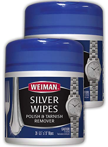 Weiman Jewelry Polish Cleaner and Tarnish Remover Wipes - 20 Count - 2 Pack - Use on Silver Jewelry Antique Silver Gold Brass Copper and Aluminum (Best Silver Cleaner Dip)