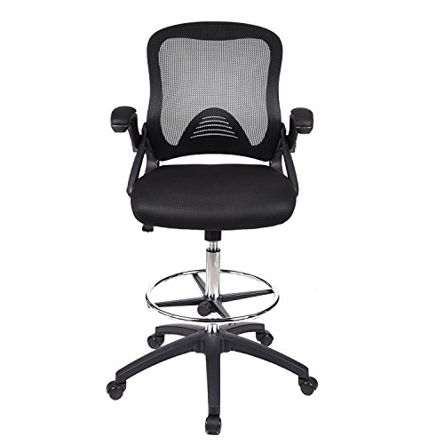 Drafting Chair Tall Office Chair for Adjustable Standing Desks with Flip-up Arm in Black Mesh -