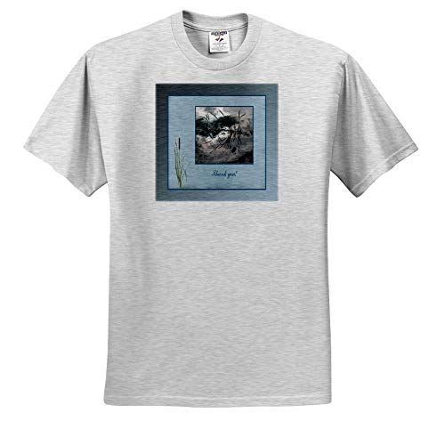 Beverly Turner Thank You Design - Thank You, Frog in a Pond Photo, Cattails Accent, Blue Frame - T-Shirts - Adult Birch-Gray-T-Shirt XL (ts_286999_21)