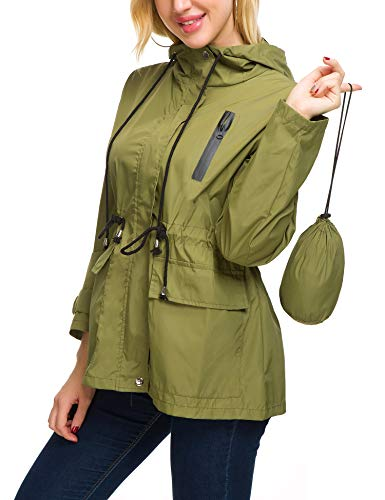 - Women Lightweight Rain Jacket Vintage Raincoat Rain Trench Coat for Spring (Army Green Large)