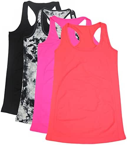 Semath Women's Workout Camisole Round Neck Racerback Tank Top 1,4 or 6 Pack
