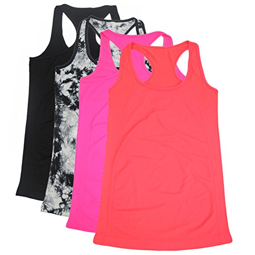 Candy Shop Tee Top - Semath Womens Lady Sleeveless Round-Neck Candy Vest Loose Tank Tops T-shirt, Medium, Black/Black-White/Orange Red/Magenta 4-pack