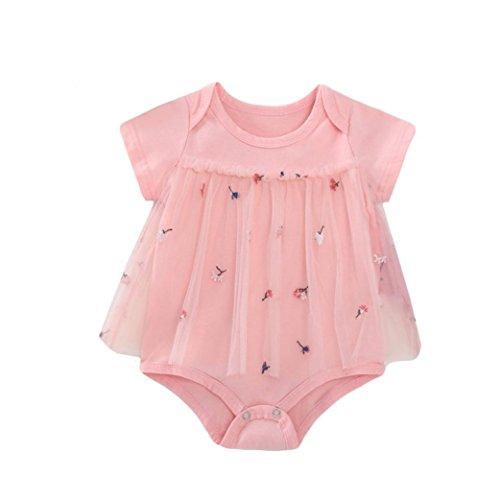Beikoard Niña Vestido Liquidación, Lovely Pink Girl bebé Bordado Hilados de Verano Manga Corta Falda Conjoined: Amazon.es: Ropa y accesorios