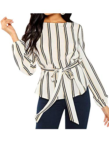 (Miessial Women's Stripe Crew Neck Blouse Long Sleeve Tie Waist Tops Shirt White 12)