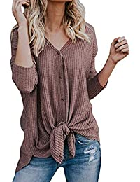 Womens Loose Long Sleeve V Neck Button Down Henley Shirts...
