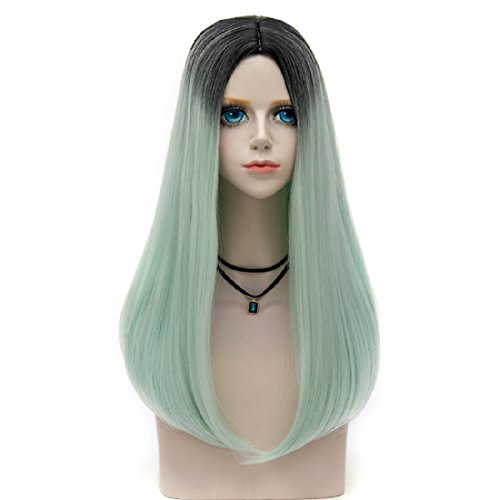 Probeauty Depresso Collection 65cm Long Lolita Straight Ombre Hair Synthetic Cosplay Wig+Cap (Neon Mint F12)