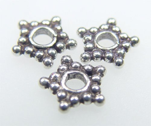 925 Sterling Silver Handcrafted Bali Star Spacer 7mm 10 Gram / 46 Pcs