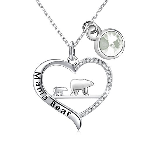 Pendant Mama 1 (BNQL Mama Bear Necklace with Birthstone Mother Necklace from Daughter or Son Mother Jewelry Gift (April))