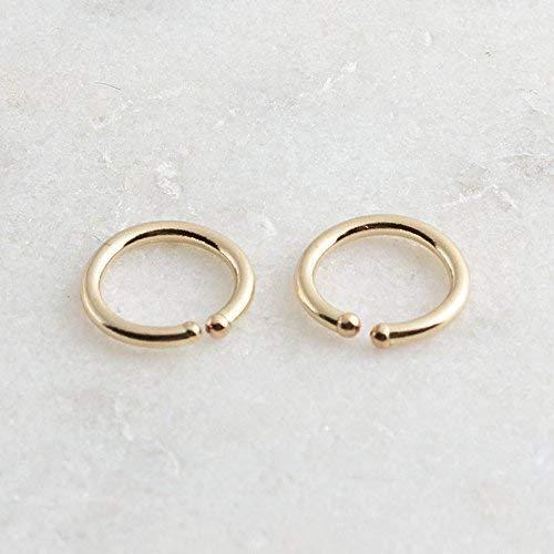 Gold Hoop Earrings, 6 x 0.8mm Gold Hugging Hoop Earrings, Tiny Hoops, Gold Handmade, Everyday Earrings, Minimalist Earrings, Round Hoop Earrings ()