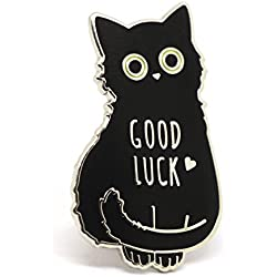 Cat Enamel Pin black cat lapel pin, good luck lucky charm pin