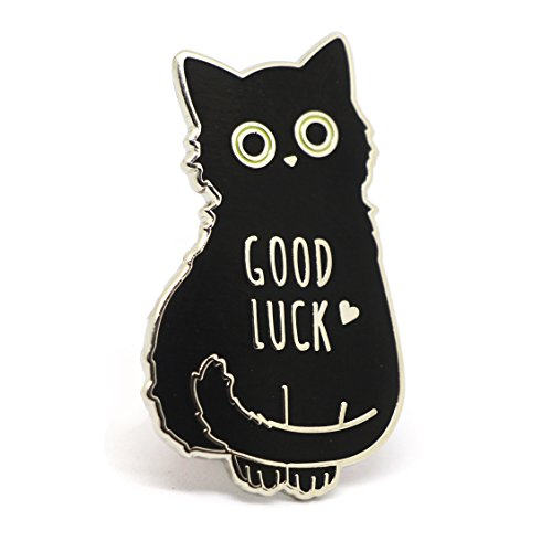 Cat Enamel Pin black cat lapel pin, good luck lucky charm pin