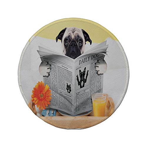Non-Slip Rubber Round Mouse Pad,Pug,Pug Reading Daily Dog Breakfast in Bed Sunday Family Fun Comedic Image,Pale Brown Yellow Orange,11.8