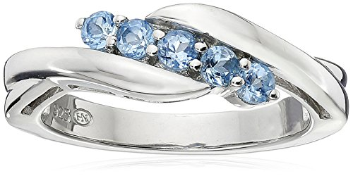 Sterling Silver Genuine Swiss Blue Topaz Five Stone Bypass Ring, Size 8 (March Birthstone Promise Ring)