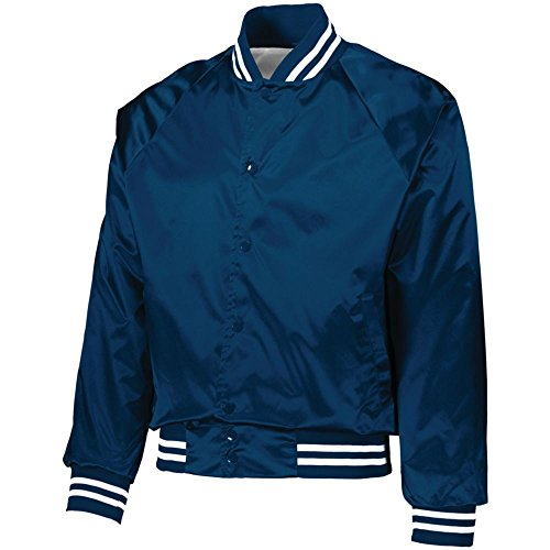 Augusta Activewear Satin Baseball Jacket/Striped Trim, Navy/White, X Large