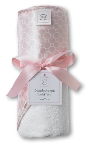 SwaddleDesigns Cotton Terry Velour Baby Hooded Towel, Pastel Pink Mini Mod Circles