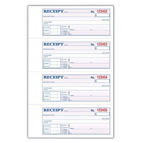 chic tops money rent receipt book 3 part carbonless 11 x 7 5 8