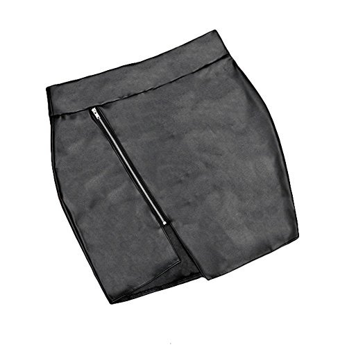 Femme Mini cinq clair 5 Jupe Noir cuir Fermeture moulante simili Sexy Fin xHfxRnX