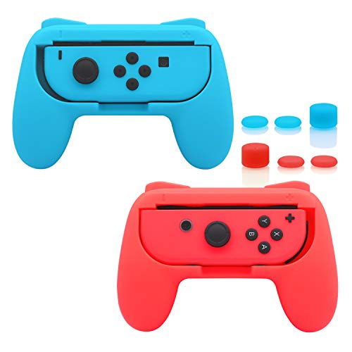 FastSnail Grips compatible with Nintendo Switch Joy Cons, Wear-resistant Handle, 2 Pack (Red and Blue) from FASTSNAIL