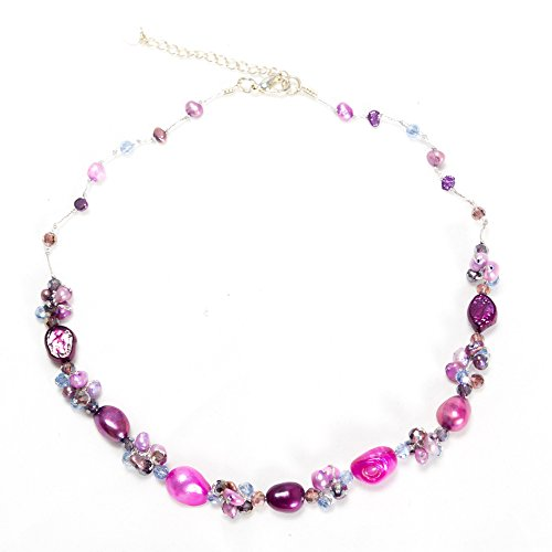Silk Thread Purple Pink Cultured Freshwater Pearl Beads Crystal Cluster Necklace, 17