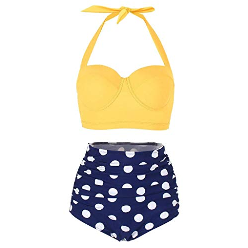 (WOCACHI Womens Polka Dot High Waist Swimsuit, Bikinis Swimwear Female Retro Beachwear Conservative Bikini Set 2019 New Summer Deals Under 10 Dollars Beach Bathing Suit)