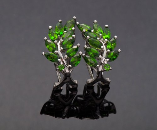 3.03 Ct Natural Chrome Diopside Rhodium-plated Sterling Silver Stud Earrings Olive