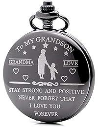 Engraved Pocket Watch Unique Gift Idea to My Grandson Grandma's Love Mens Boys Quartz Watch