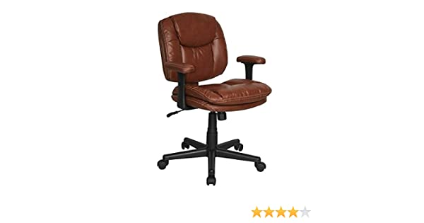 Amazon.com: Dorra Task Chair / Bonded Brown Leather / Brown ...