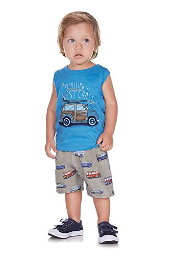 Pulla Bulla Baby Boy 2-Piece Set Tank Top and Shorts Outfit 9-12 Months Blue