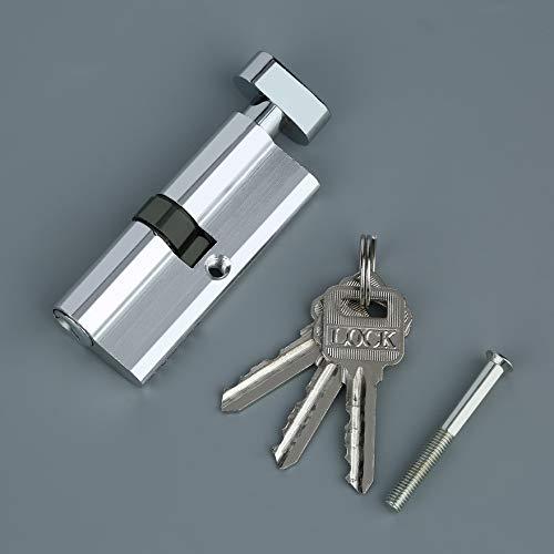 Plata Cilindro de cerradura de puerta de metal de aluminio de 70 mm Seguridad para el hogar Anti-Snap Anti-Drill con 3 llaves Herramientas de tono plateado