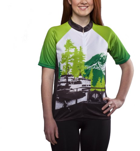 Green Trees, Ferry, Rainier - Pacific Northwest Women's Green and Black Cycling Jersey