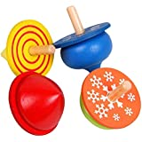 4 Pcs Colorful  Traditional Educational Wooden Gyro Spinning Top Toys for Kids Children