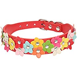 Uniquorn 2017 New Fashion Colorful Flower Dog Collar Cute Colorful Leather PU Pet Collar