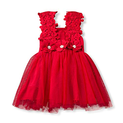 SOVIKER Baby Girls Princess Flower Dress Sleeveless Lace Tutu Gown Bridesmaid Party Wedding Birthday Dress-a168-Red-100]()
