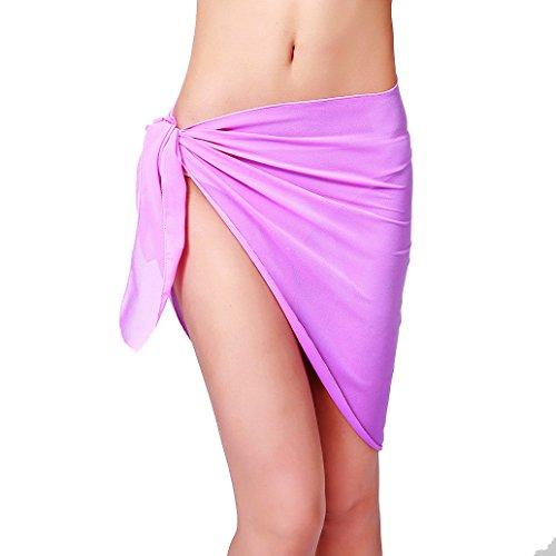 ChinFun Women's Sarong Wrap Beach Swimwear Chiffon Cover Up Short Pareo Bikini Swimsuit Wrap Skirt Bathing Suit Shawl Semi-sheer Translucent Solid Light (Chiffon Womens Shorts)