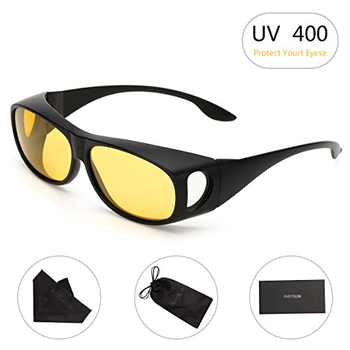 HD Night Vision Wrap Around Sunglasses RAYSUN Polarized Driving Sun - Sunglasses Night Driving