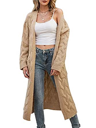 Simplee Women's Casual Open Front Long Sleeve Knit Cardigan Sweater Coat with Pockets - Khaki - 4/6