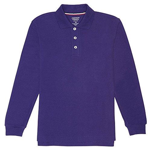 - French Toast Big Boys' Long Sleeve Pique Polo, Purple, 12