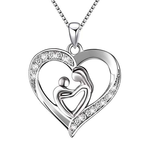 TOOPOOT Deals Gifts,Fashion Silver Accessories MOM Diamond Necklace Jewelry (Silver)