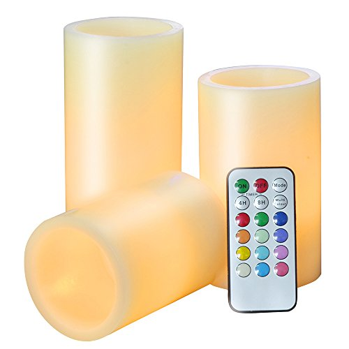 Stuff of 3 Color Changing Indoor LED Flameless Candle Lights Ivory White- Real Wax, Battery Operated Candles with Remote Check & Timer, Faux Pillar Candles Electric Candles By JIAJIA Spring