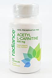 Radiance Acetyl L-Carnitine Capsules 500mg Help Support Brain Function 60 Capsules Dietary Supplement
