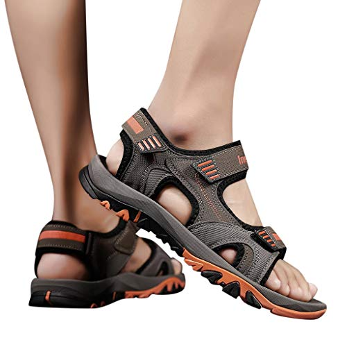 Corriee 2019 Most Wished Mens Flats Shoes Anti Slip Beach Sandals Teens Summer Outdoor Footwear Orange ()