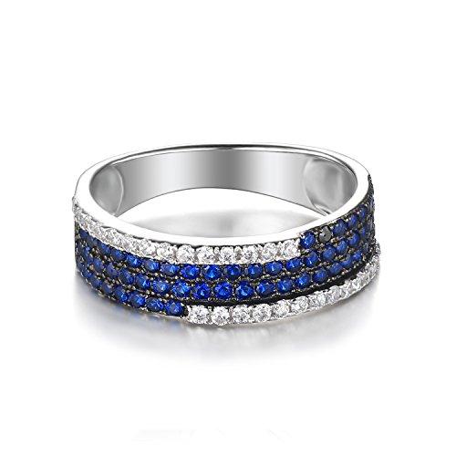 JewelryPalace 0.81ct Bleu Spinelle de Synthese Grappe Cocktail Bague en Argent 925