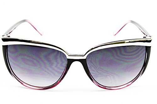 D1019-cc Designer Eyewear Cateye Sunglasses (714 Black/Purple/Silver, gradient)