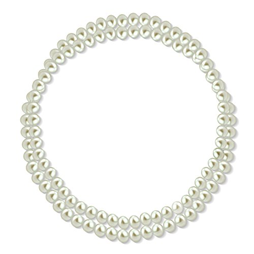 8-8.5mm White Freshwater Cultured High Luster Pearl Endless Necklace, 36""