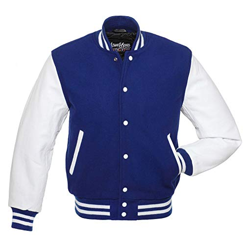 C102-M Varsity Letterman Jacket Royal Blue Wool & White Leather