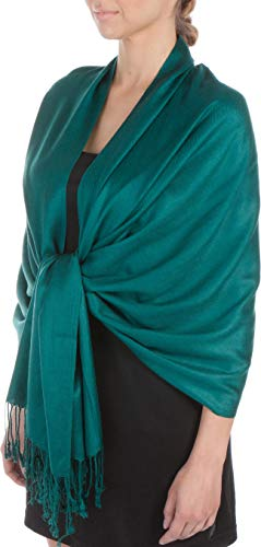(Sakkas Large Soft Silky Pashmina Shawl Wrap Scarf Stole in Solid Colors - Teal)